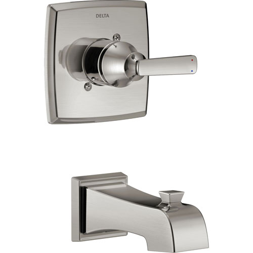 Delta Ashlyn Modern 14 Series Stainless Steel Finish Single Handle Wall Mounted Tub Only Faucet INCLUDES Rough-in Valve with Stops D1237V