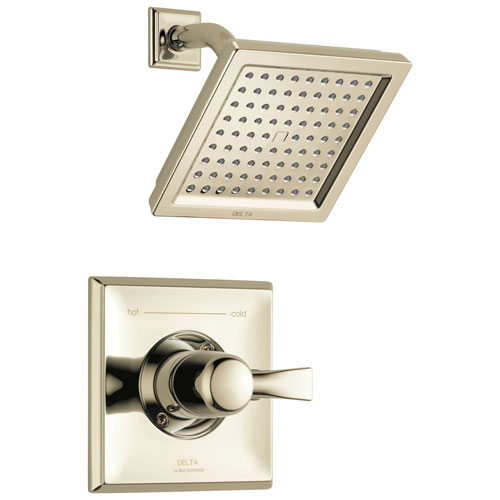 Delta Dryden Collection Polished Nickel Monitor 14 Water Efficient 1.75 GPM Square Shower only Faucet Includes Rough-in Valve without Stops D2473V