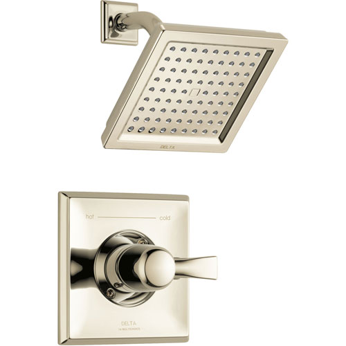 Delta Dryden Modern Square 14 Series Polished Nickel Finish Single Handle Shower Only Faucet INCLUDES Rough-in Valve D1214V