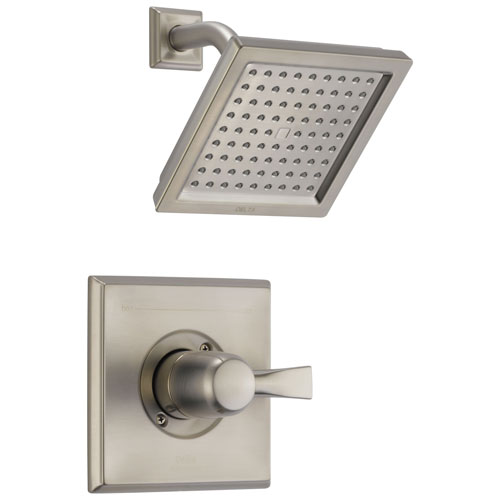 Delta Dryden Collection Stainless Steel Finish Monitor 14 Series 2.5 GPM Square Shower only Faucet Includes Rough-in Valve with Stops D2472V