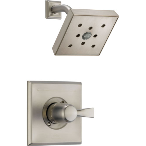 Delta Dryden Stainless Steel Finish Square Shower Only Faucet with Valve D576V