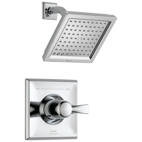 Delta Dryden Collection Chrome Finish Monitor 14 Series Water Efficient 1.75 GPM Square Shower only Faucet Includes Rough-in Valve without Stops D2465V