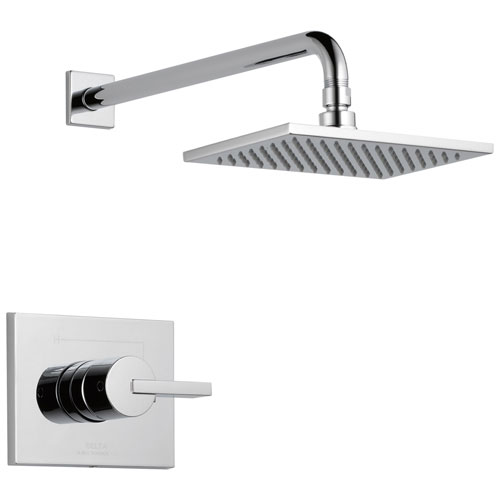 Delta Vero Chrome Monitor 14 Modern Shower only Faucet Trim Kit with 1.75 GPM Water Efficient Overhead Showerhead Includes Rough-in Valve with Stops D2458V