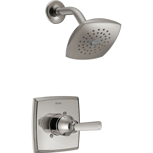 Delta Ashlyn Modern 14 Series Watersense Stainless Steel Finish Single Handle Shower Only Faucet INCLUDES Rough-in Valve with Stops D1231V