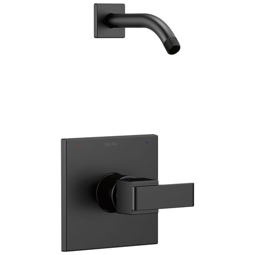 Delta Ara Collection Matte Black Finish Monitor 14 Modern Square Plate Single Handle Shower only Trim - Less Showerhead Includes Valve with Stops D2438V
