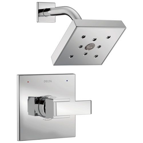 Delta Ara Collection Chrome Monitor 14 Series H2Okinetic Square Showerhead and Modern Single Handle Control Trim Kit (Requires Rough-in Valve) DT14267