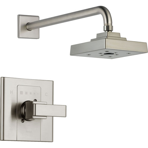 Delta Arzo Stainless Steel Finish Modern Square Shower Only Faucet Trim 352373