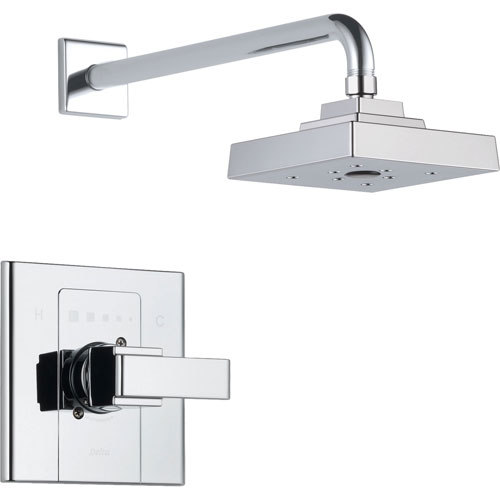 Delta Arzo Chrome Single Handle Modern Square Shower Only Faucet Trim Kit 352393