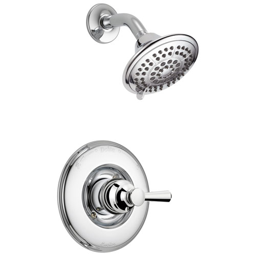 Delta Linden Collection Chrome Monitor 14 Series Contemporary Single Lever Handle Shower only Faucet Includes Rough-in Valve without Stops D2431V