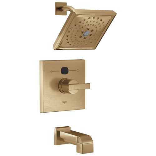 Delta Champagne Bronze Ara Collection Modern 14 Series Digital Display Temp2O One Handle Tub and Shower Combination Faucet Includes Valve with Stops D2015V