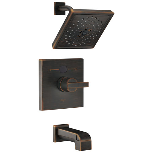 Delta Venetian Bronze Ara Angular Modern 14 Series Digital Display Temp2O One Handle Tub and Shower Combination Faucet Includes Valve without Stops D2010V