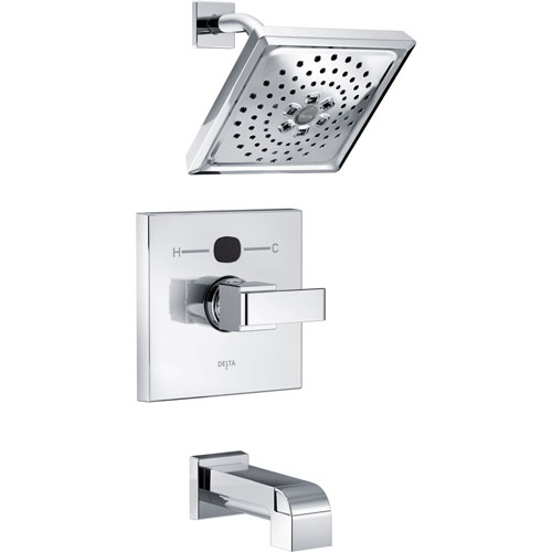 delta ara chrome finish angular modern square temp2o tub and shower combination faucet with digital display