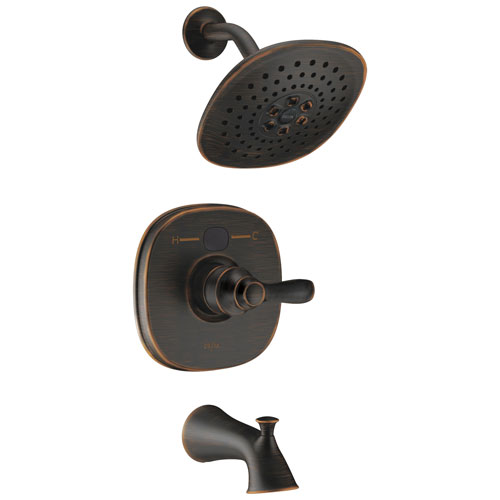 Delta Venetian Bronze Transitional One Handle 14 Series Digital Display Temp2O Tub and Shower Combination Faucet Includes Rough-in Valve with Stops D2003V
