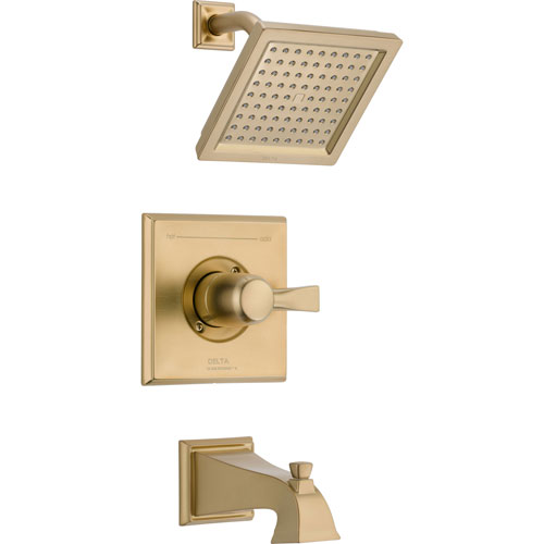 Delta Dryden Modern Square Champagne Bronze Tub and Shower Faucet Trim 563333