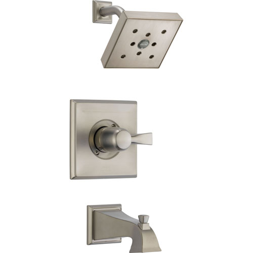 Delta Dryden Modern Square Stainless Steel Finish Tub and Shower Trim Kit 573196