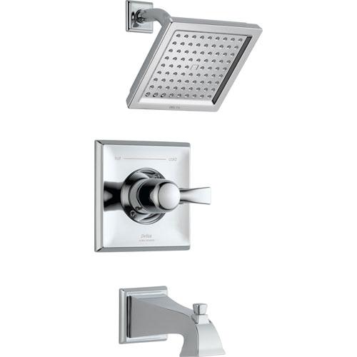 Delta Dryden Modern Square Chrome Tub and Shower Faucet Includes Valve D312V