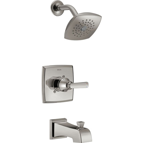 Delta Ashlyn Modern Stainless Steel Finish 14 Series Watersense Single Handle Tub and Shower Combination Faucet INCLUDES Rough-in Valve with Stops D1171V