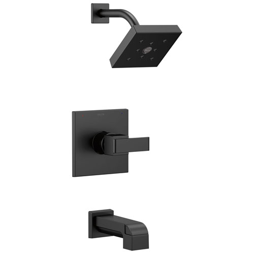 Delta Ara Collection Matte Black Finish Monitor 14 Watersense Modern Square Lever Handle Tub and Shower Combo Faucet Includes Valve without Stops D2383V