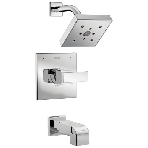 Delta Ara Collection Chrome Monitor 14 H2Okinetic Watersense Modern Square Lever Handle Tub and Shower Combo Faucet Includes Valve with Stops D2386V
