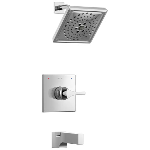 Delta Zura Collection Chrome Modern Square Monitor 14 Single Handle H2Okinetic Tub and Shower Combo Faucet Includes Valve without Stops D1990V