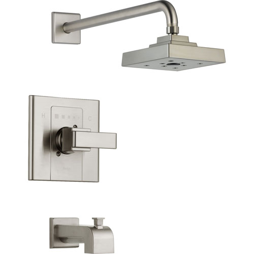 Delta Arzo Stainless Steel Finish Tub and Large Shower Faucet Trim Kit 352437