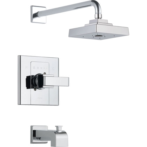 Delta Arzo 1-Handle Tub and Large Shower Faucet with Valve in Chrome D268V