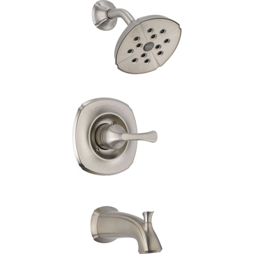 Delta Addison Stainless Steel Finish Tub and Shower Faucet Includes Valve D340V