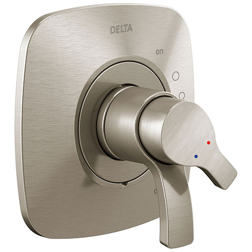 Delta Tesla Stainless Steel Finish Monitor 17 Dual Temperature and Water Pressure Shower Faucet Control Handle Includes Trim Kit and Valve with Stops D1979V