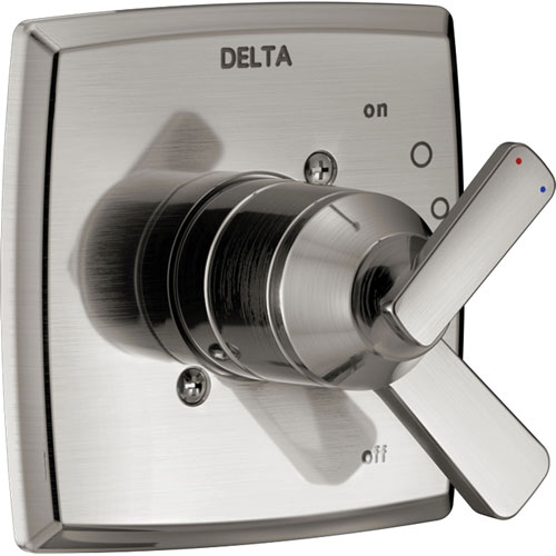 Delta Ashlyn Modern Stainless Steel Finish 17 Series Dual Temperature and Pressure Shower Faucet Control INCLUDES Rough-in Valve with Stops D1153V