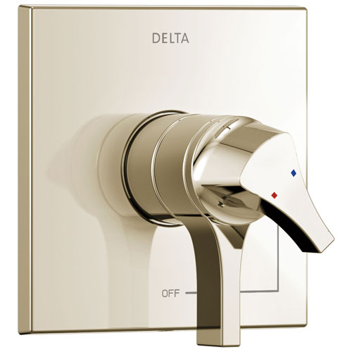 Delta Zura Collection Polished Nickel Monitor 17 Dual Temperature and Water Pressure Shower Faucet Control Includes Trim Kit and Valve with Stops D1975V