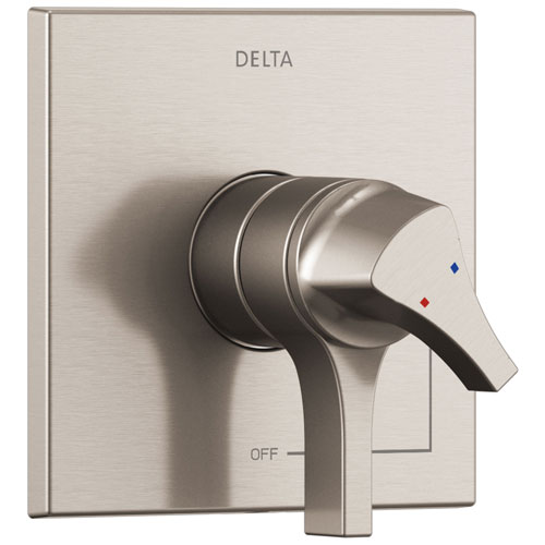 Delta Zura Stainless Steel Finish Monitor 17 Dual Temperature and Water Pressure Shower Faucet Control Handle Includes Trim Kit and Valve without Stops D1972V