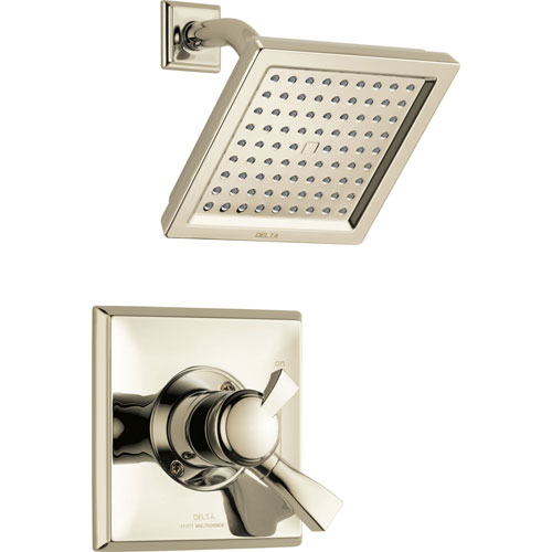 Delta Dryden Modern Square Polished Nickel Finish Shower Only Faucet with Dual Temperature and Pressure Control INCLUDES Rough-in Valve D1146V