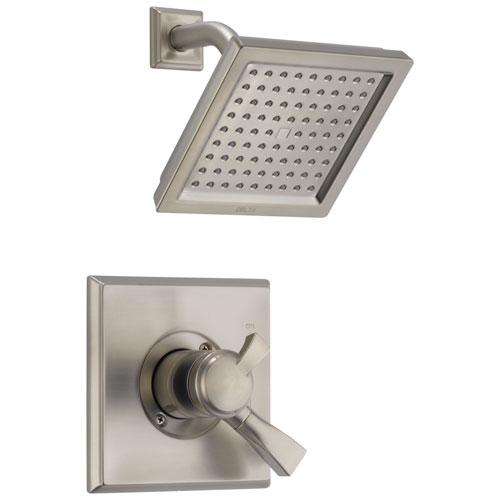 Delta Dryden Collection Stainless Steel Finish Monitor 17 Series Shower Faucet with Double Handle Control Includes Rough Valve with Stops D2344V