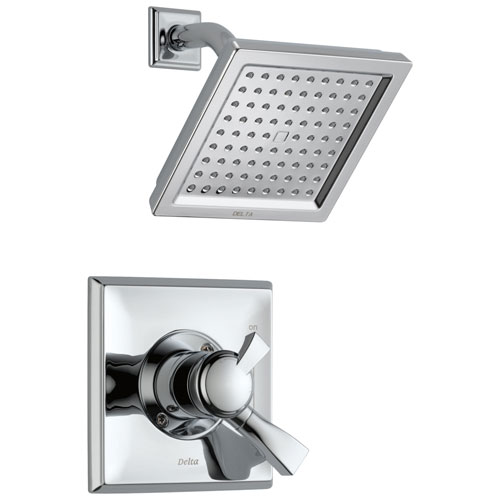 Delta Dryden Collection Chrome Monitor 17 Modern Water Efficient Dual Control Shower Faucet with Square Showerhead Includes Rough Valve without Stops D2339V