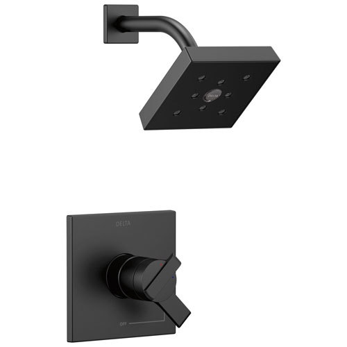 Delta Ara Collection Matte Black Finish Dual Water Pressure and Temperature Control Watersense Shower Only Faucet Includes Rough Valve without Stops D2327V