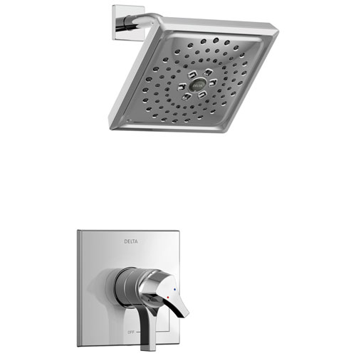 Delta Zura Collection Chrome Modern Monitor 17 Dual Temperature and Pressure Shower only Faucet Control Handle Includes Trim Kit and Valve with Stops D1971V