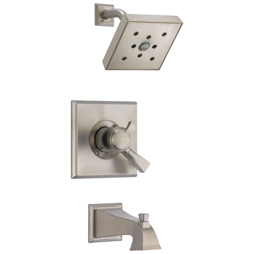 Delta Dryden Stainless Steel Finish Monitor 17 Water Efficient Dual Control Tub and Shower Combination Includes Trim Kit and Rough Valve without Stops D2307V