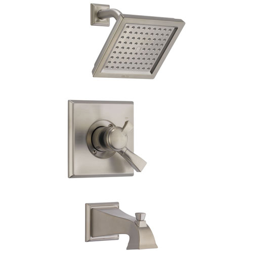 Delta Dryden Stainless Steel Finish Dual Temp and Pressure Control Modern Square Shower and Tub Combination Includes Trim Kit and Rough Valve with Stops D2310V