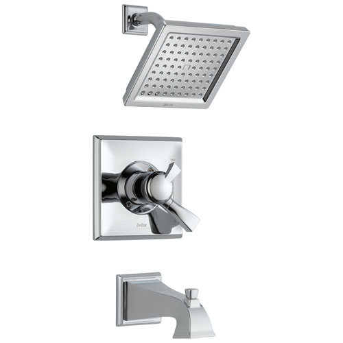 Delta Dryden Collection Chrome Monitor 17 1.75 GPM Water Efficient Dual Control Tub and Shower Combination Includes Rough Valve with Stops D2306V