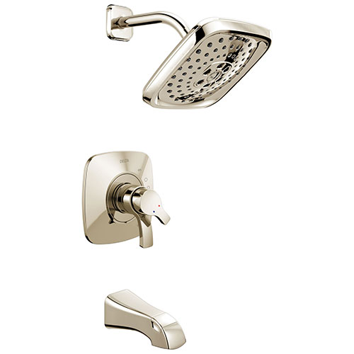 Delta Tesla Collection Polished Nickel Modern Dual Pressure and Temperature Control Tub and Shower Combination Faucet Includes Valve without Stops D1962V