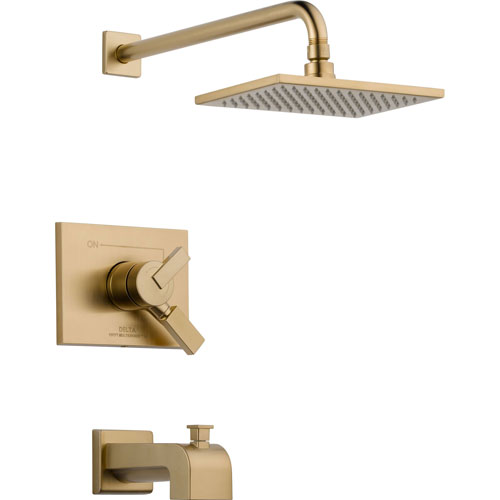 Delta Vero Champagne Bronze Square Two Control Tub and Shower with Valve D379V