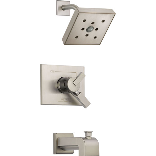 Delta Vero Stainless Steel Finish Two Control Tub and Shower with Valve D452V