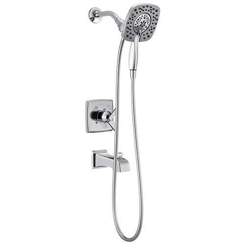 Delta Ashlyn Chrome Finish Monitor 17 Series Tub and Shower Combo Faucet with In2ition Two-in-One Hand Shower Spray INCLUDES Rough-in Valve with Stops D1123V
