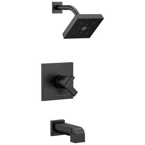 Delta Ara Collection Matte Black Finish Modern Temperature and Water Pressure Dual Control Tub & Shower Faucet Combo Includes Rough Valve without Stops D2295V