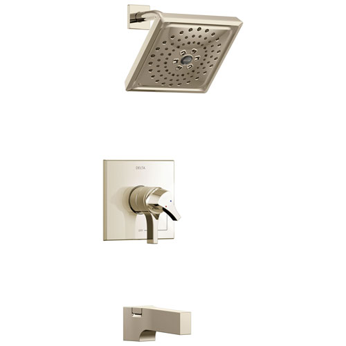 Delta Zura Collection Polished Nickel Dual Pressure and Temperature Control Handle Tub and Shower Combination Faucet Includes Rough-in Valve with Stops D1957V