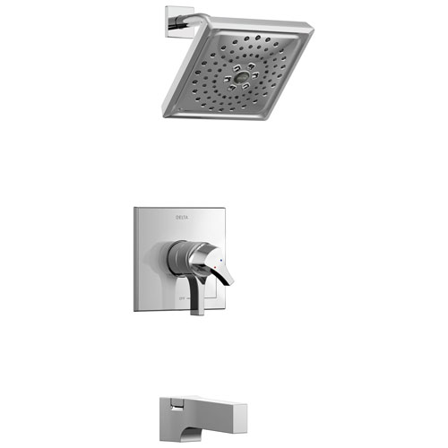 Delta Zura Collection Chrome Modern Dual Pressure and Temperature Control Handle Tub and Shower Combination Faucet Includes Rough-in Valve without Stops D1958V