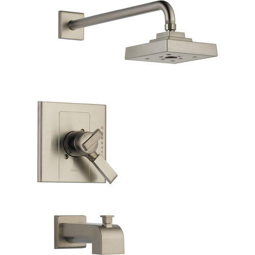 Delta Arzo Stainless Steel Finish Modern Tub and Shower Combo Trim Kit 550120