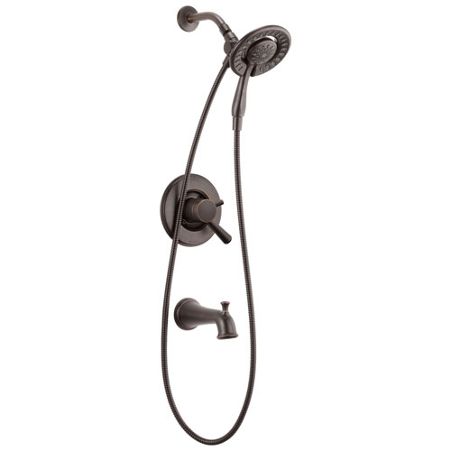 Delta Linden Collection Venetian Bronze Temp and Pressure Control Tub and Shower with 2-in-1 Hand Shower / Showerhead Trim (Requires Valve) DT17493RBI
