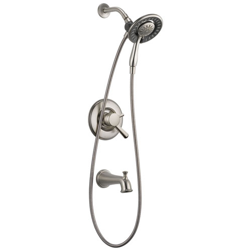 Delta Linden Collection Stainless Steel Finish Dual Control Tub and Shower Faucet with Hand Spray / Showerhead Combo Includes Rough Valve without Stops D2283V