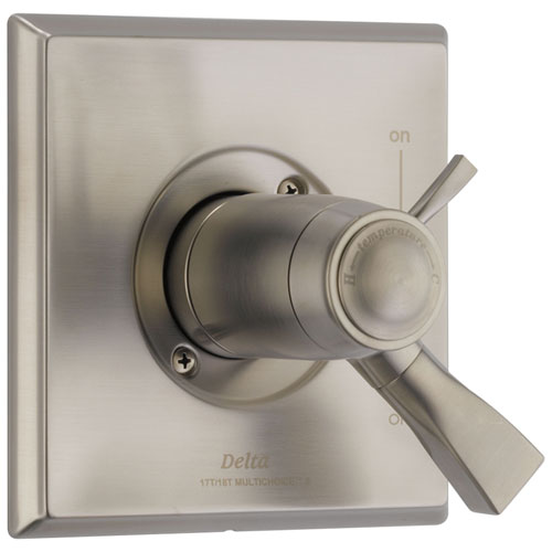 Delta Dryden Collection Stainless Steel Finish Thermostatic Dual Temperature and Pressure Control Handle Valve Only Includes Rough Valve with Stops D2280V